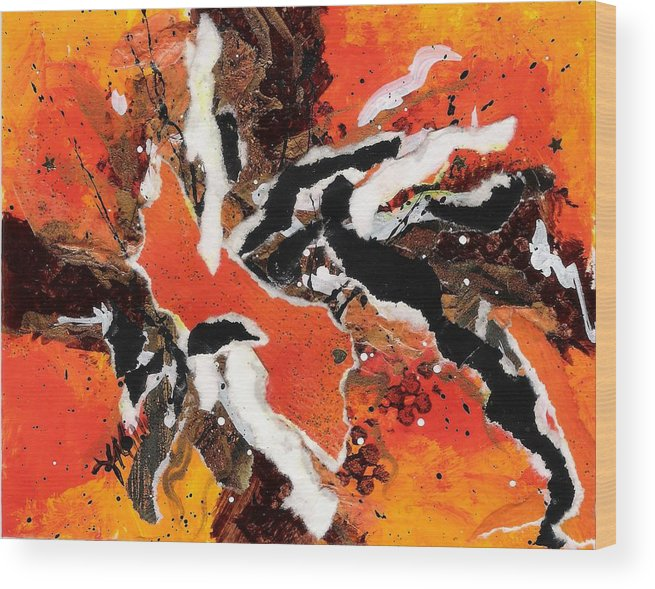 Abstract Wood Print featuring the painting CYHM Orange by Tara Milliken