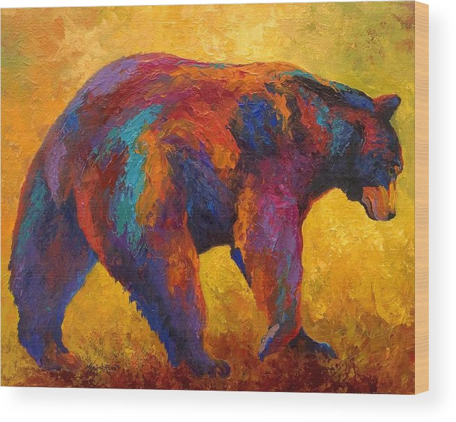 Bear Wood Print featuring the painting Daily Rounds - Black Bear by Marion Rose