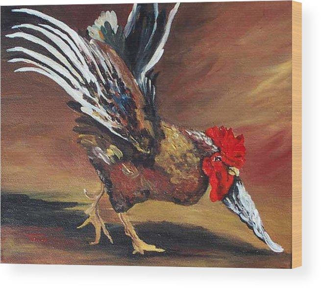 Chicken Wood Print featuring the painting Dancing Rooster by Torrie Smiley