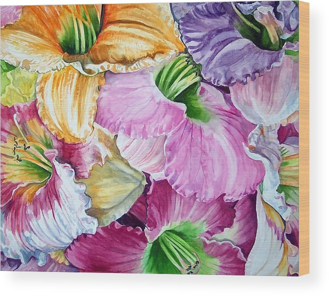 Lillies Wood Print featuring the print Daylillies by Bette Gray