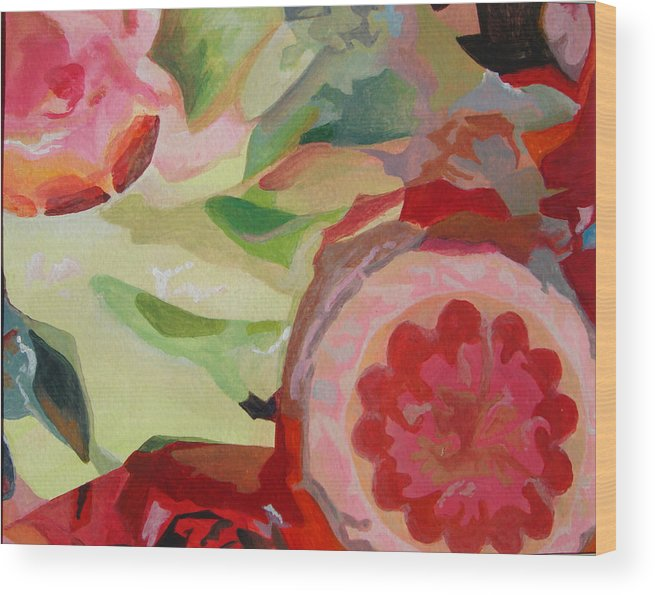 Abstract Wood Print featuring the painting Decoupage by Muriel Dolemieux