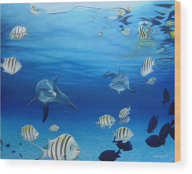 Seascape Wood Print featuring the painting Delphinus by Angel Ortiz