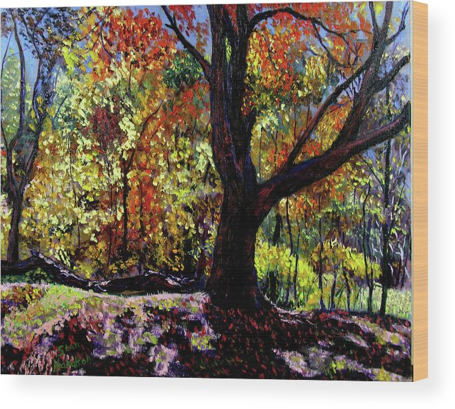 Tree Wood Print featuring the painting Demo 8 11 by Stan Hamilton