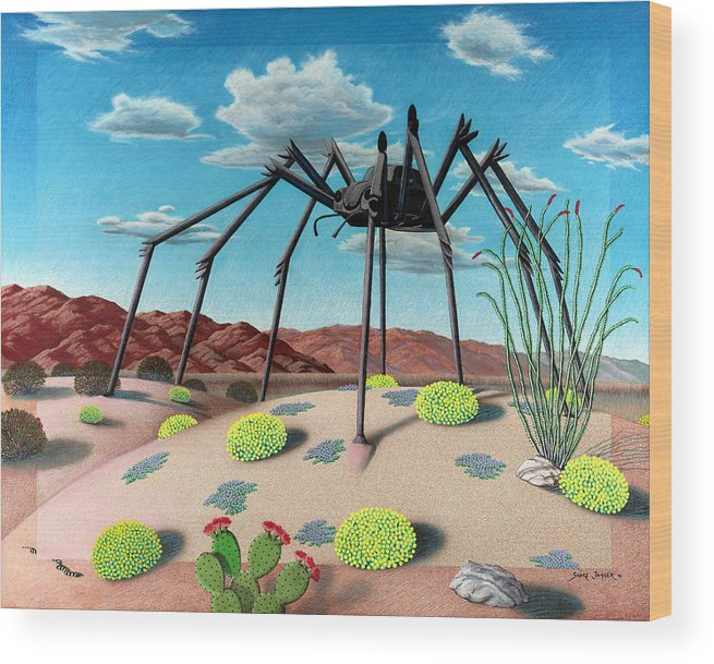 Desert Wood Print featuring the painting Desert Bug by Snake Jagger