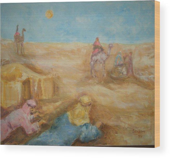 Landscape Camels Arabs Desert Animal Tents Wood Print featuring the painting Desert by Joseph Sandora Jr
