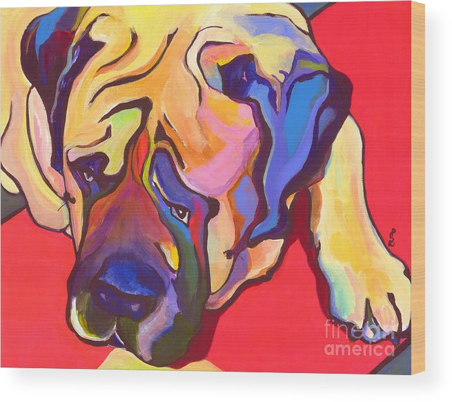 Mastiff Wood Print featuring the painting Diesel  by Pat Saunders-White