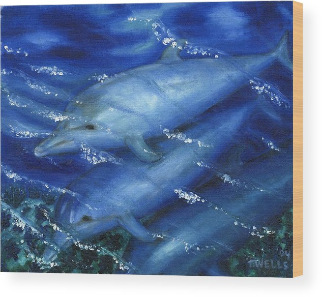 Dolphins Wood Print featuring the painting Dolphins Swimming by Tanna Lee M Wells