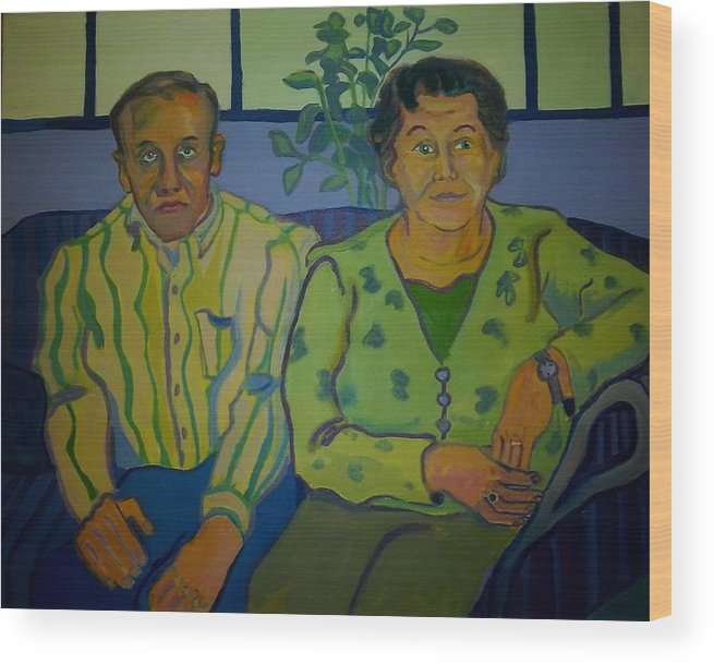 Older Couple Wood Print featuring the painting Dottie And Jerry by Debra Bretton Robinson