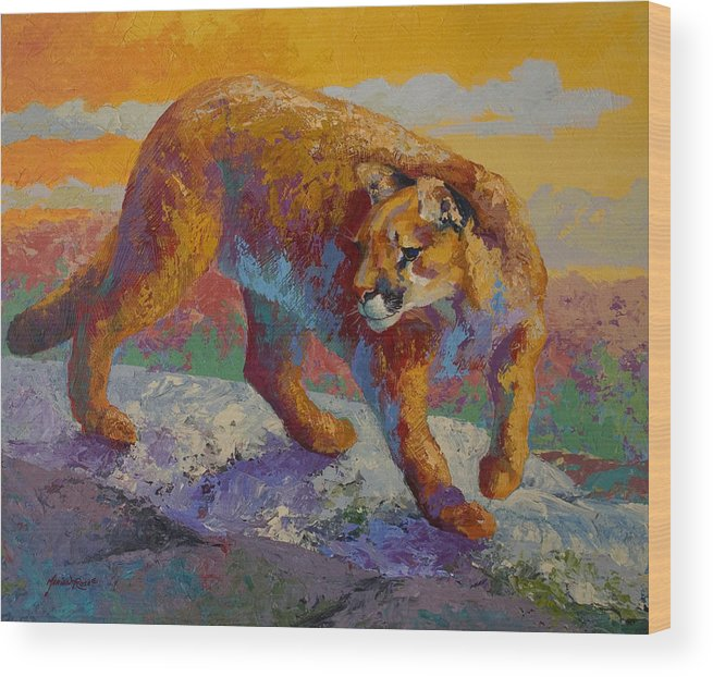 Mountain Lion Wood Print featuring the painting Down Off The Ridge - Cougar by Marion Rose