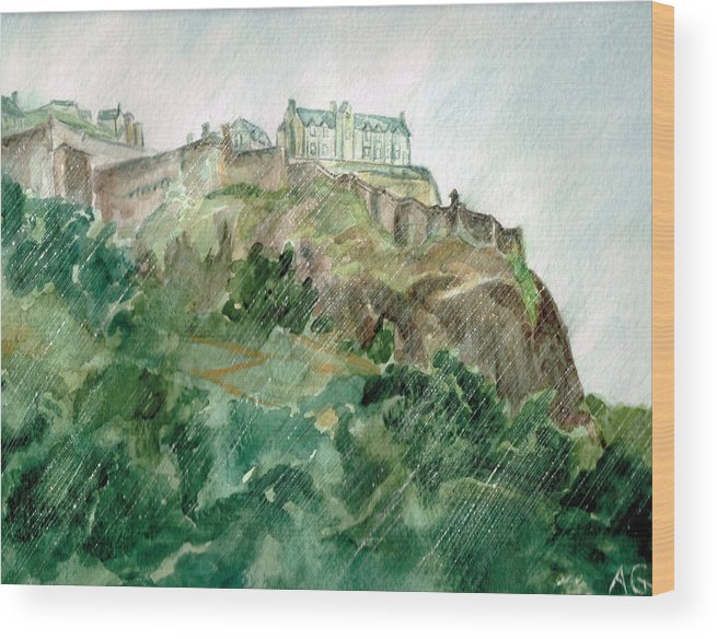 Castle Wood Print featuring the painting Edinburgh Castle by Andrew Gillette