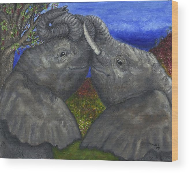 Elephants Wood Print featuring the painting Elephant Hugs by Tanna Lee M Wells