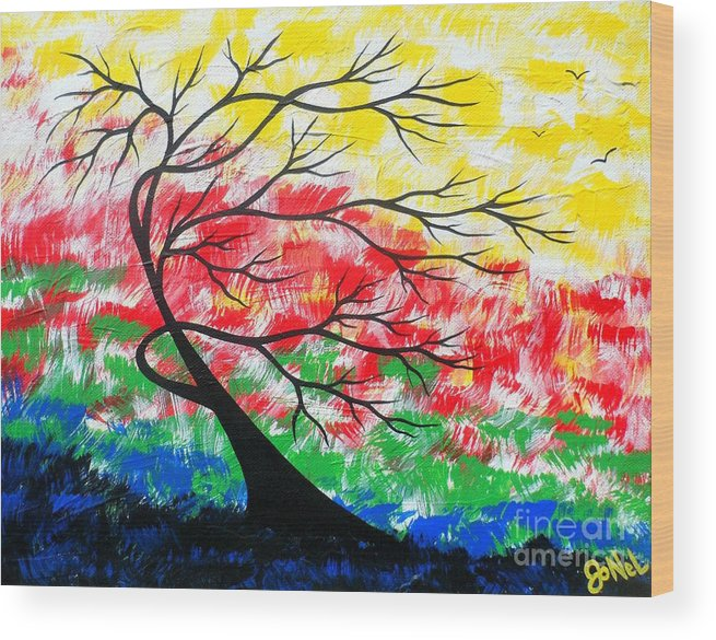 Tree Wood Print featuring the painting Energy Expressions Vivid by JoNeL Art