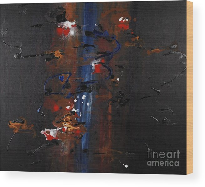 Black Wood Print featuring the painting Energy by Nadine Rippelmeyer