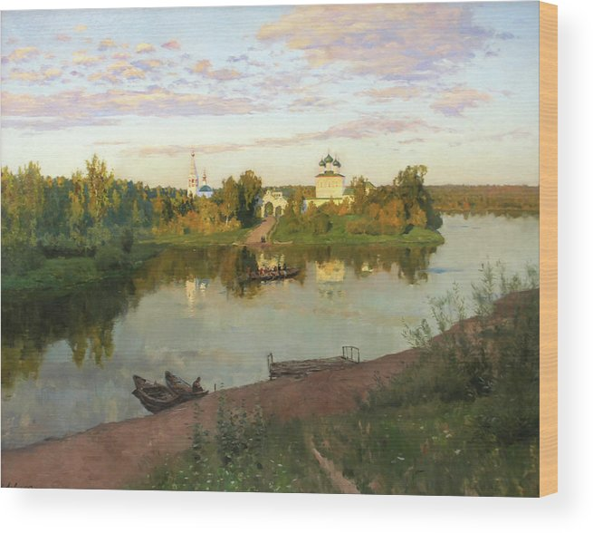 Isaac Levitan Wood Print featuring the painting Evening Bells by Isaac Levitan