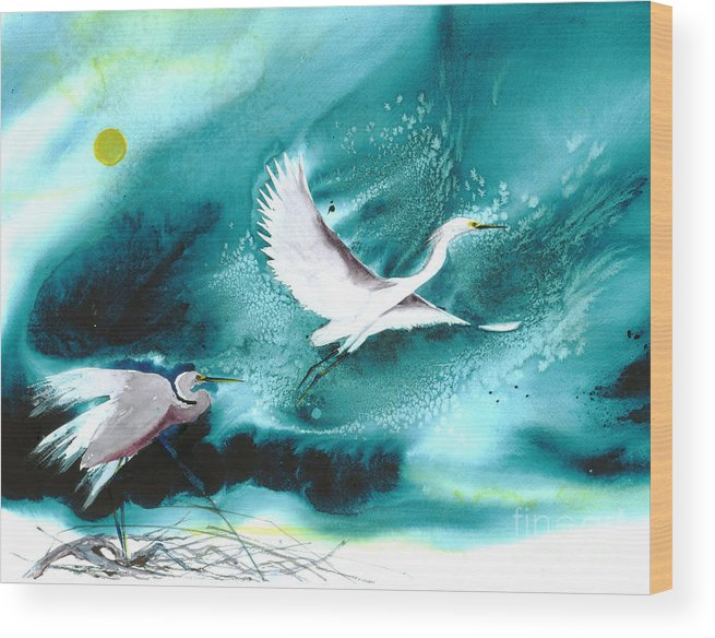 A Pair Of Egrets By The Water At Night- A Watercolor Painting Wood Print featuring the painting Fairies by Mui-Joo Wee