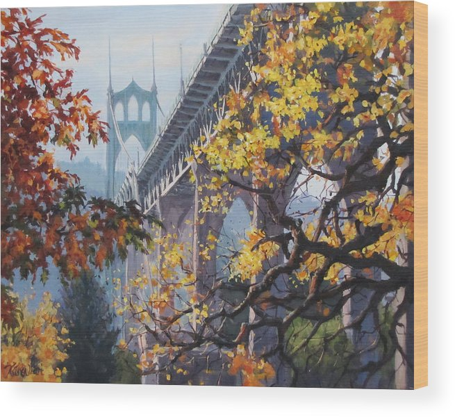 Portland Wood Print featuring the painting Fall St Johns by Karen Ilari