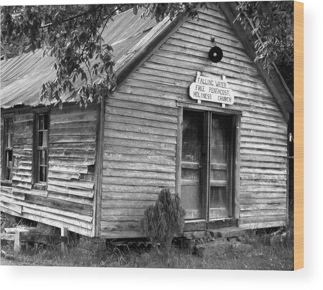 Wood Wood Print featuring the photograph falnH2OchurchBW by Curtis J Neeley Jr