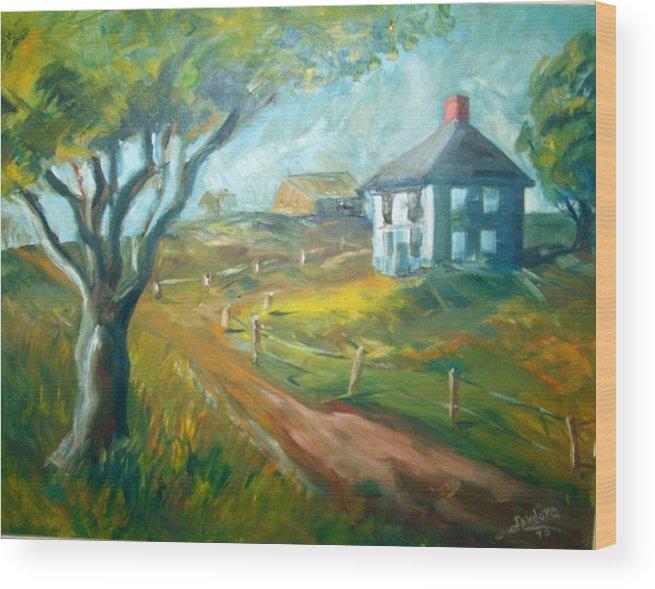 Landscape Farm House Wood Print featuring the painting Farm In Gorham by Joseph Sandora Jr