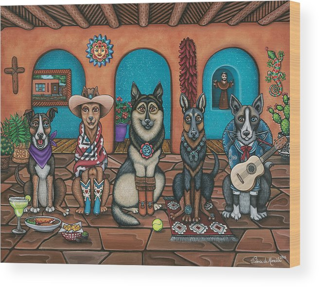 Dogs Wood Print featuring the painting Fiesta Dogs by Douglas Jones