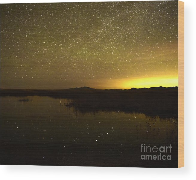 Landscape Wood Print featuring the photograph Fish Springs After Midnight by Dennis Hammer