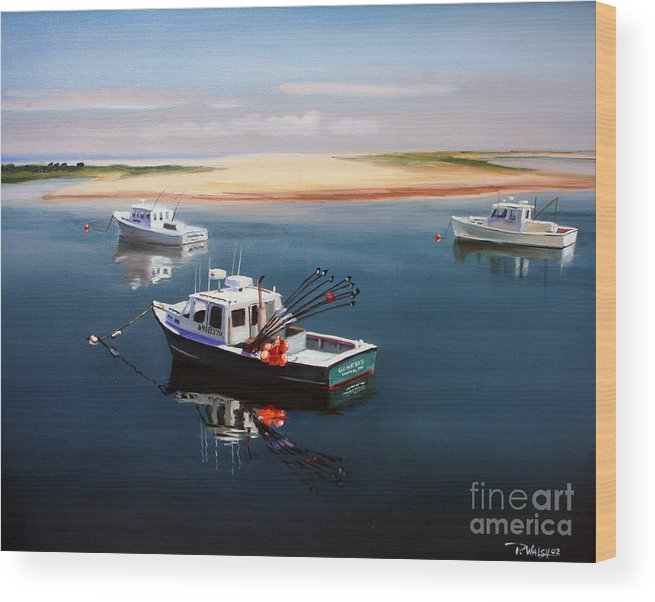 Fishing Boats Wood Print featuring the painting Fishing Boats-cape Cod by Paul Walsh