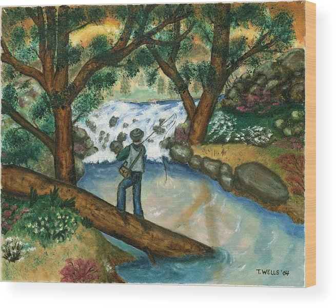 Fisherman Fly Fishing In A Sunny Stream Wood Print featuring the painting Fishing the Sunny River by Tanna Lee M Wells