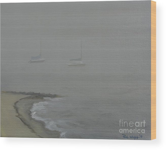 Beach Wood Print featuring the painting Foggy Shore by Paul Walsh