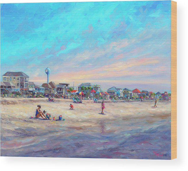 Folly Beach Wood Print featuring the painting Folly Beach South Carolina by Jeff Pittman
