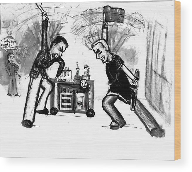 Teachers Wood Print featuring the drawing Football Hysteria by Katie Alfonsi