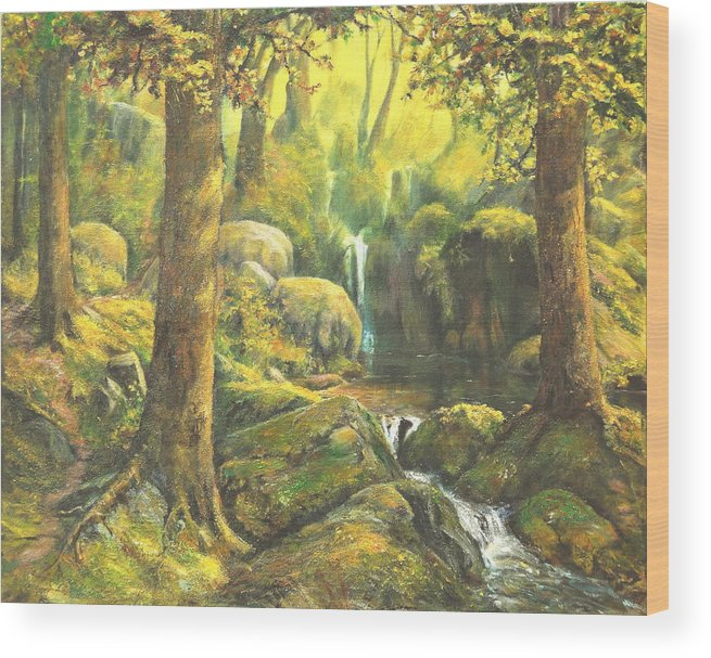 Landscape Wood Print featuring the painting Forest Enchantment by Craig shanti Mackinnon