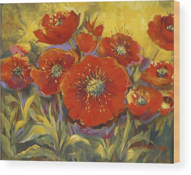 Plants Wood Print featuring the painting Fortuitous Poppies by Caroline Patrick