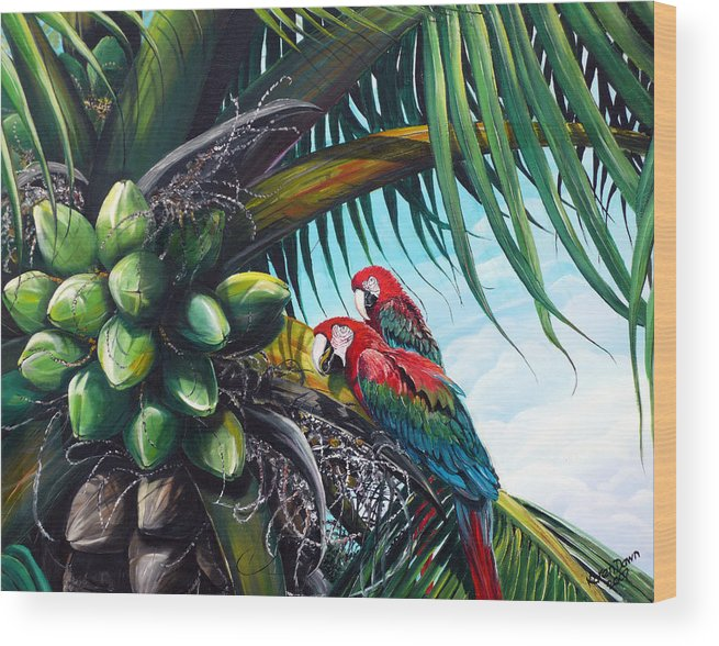 Macaws Bird Painting Coconut Palm Tree Painting Parrots Caribbean Painting Tropical Painting Coconuts Painting Palm Tree Greeting Card Painting Wood Print featuring the painting Friends Of A Feather by Karin Dawn Kelshall- Best