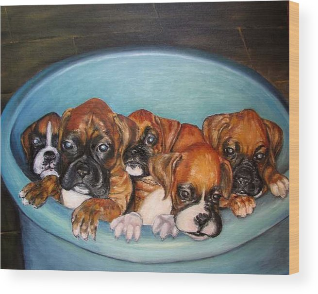 Oil Wood Print featuring the painting Funny Puppies orginal oil painting by Natalja Picugina