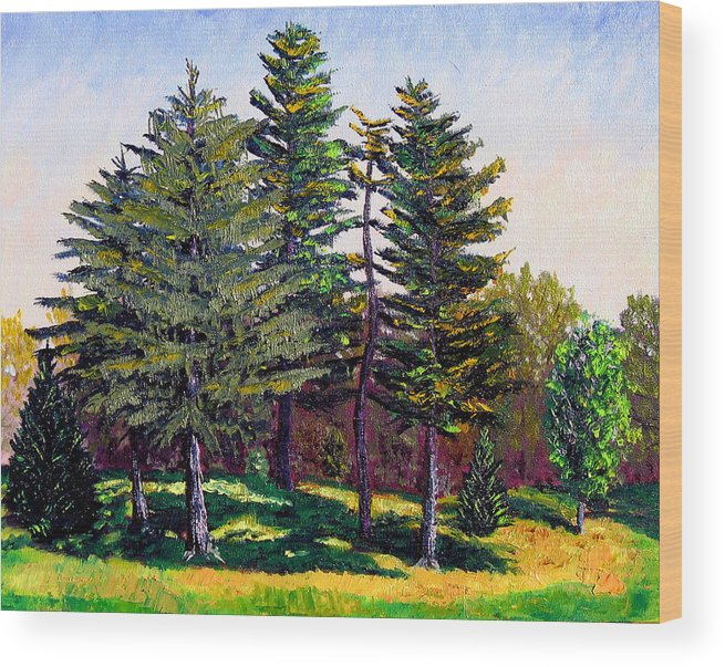 Landscape Wood Print featuring the painting Garfield Trees by Stan Hamilton
