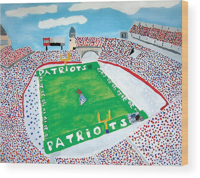 Gillette Stadium Wood Print featuring the painting Gillette Stadium by Jeff Caturano