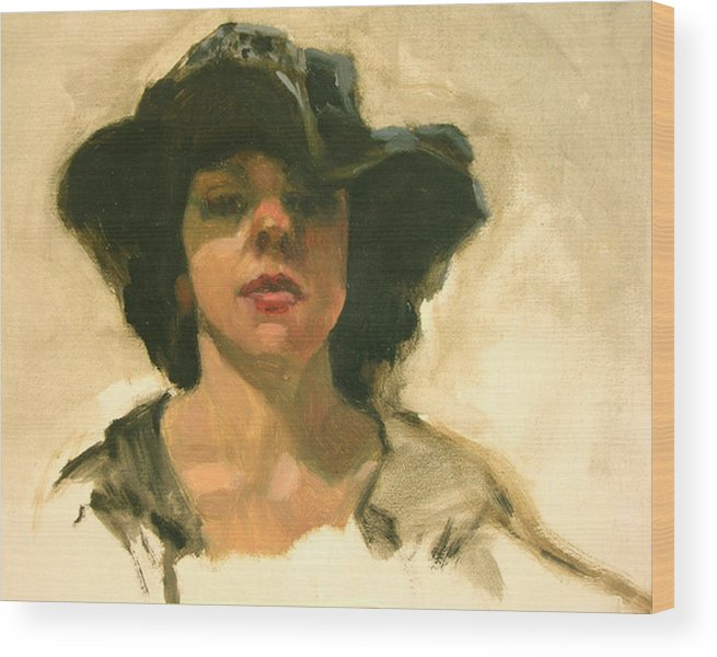Portrait Wood Print featuring the painting Girl In A Floppy Hat by Merle Keller