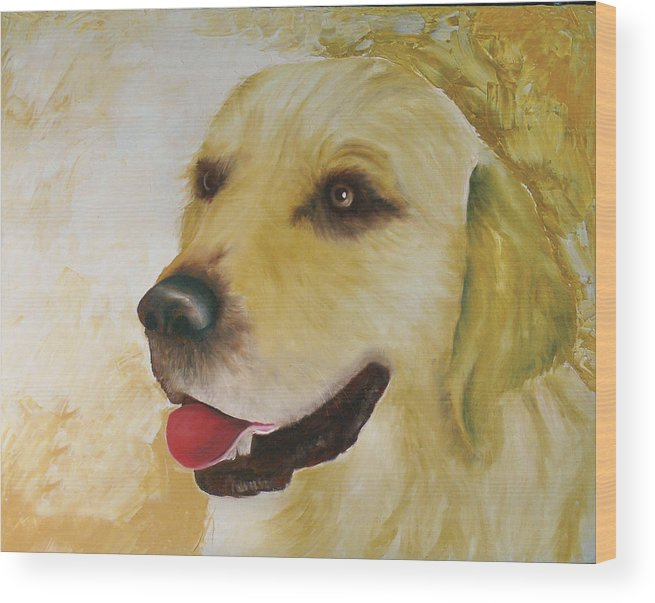 Wood Print featuring the painting Golden Retriever by Dick Larsen