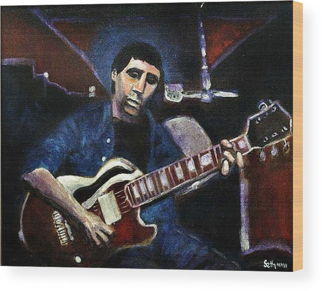 Shining Guitar Wood Print featuring the painting Graceland Tribute to Paul Simon by Seth Weaver