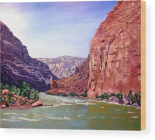 Original Oil On Canvas Wood Print featuring the painting Grand Canyon I by Stan Hamilton