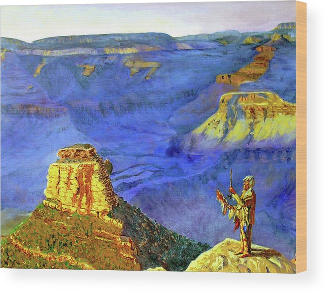 Original Oil On Canvas Wood Print featuring the painting Grand Canyon V by Stan Hamilton
