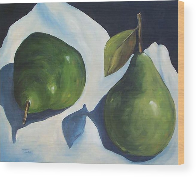 Green Pears Wood Print featuring the painting Green Pears on Linen - 2007 by Torrie Smiley