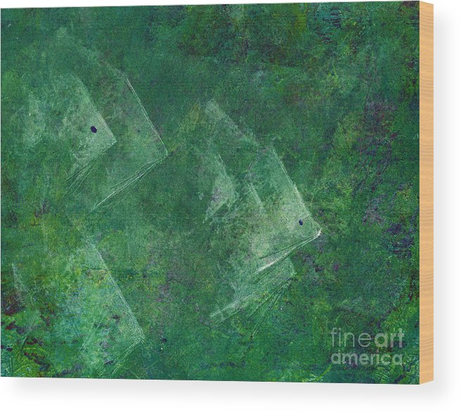 A School Of Fish In Green Water- Monotype Print Wood Print featuring the painting Green Water by Mui-Joo Wee