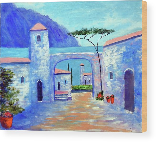 Lake Como Italy Wood Print featuring the painting Harmony Of Como by Larry Cirigliano