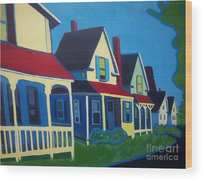 Maine Wood Print featuring the painting Harpswell Cottages by Debra Bretton Robinson