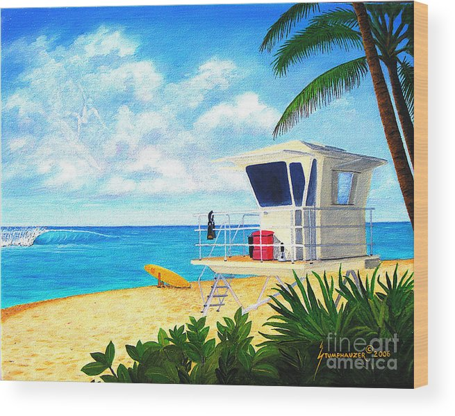 Hawaii Wood Print featuring the painting Hawaii North Shore Banzai Pipeline by Jerome Stumphauzer