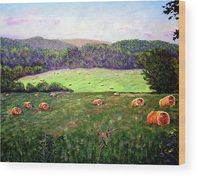 Original Oil On Canvas Wood Print featuring the painting Hay Field by Stan Hamilton