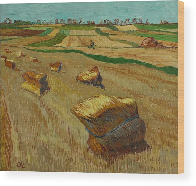 Landscape Wood Print featuring the painting Haystacks in Moravia by Vitali Komarov