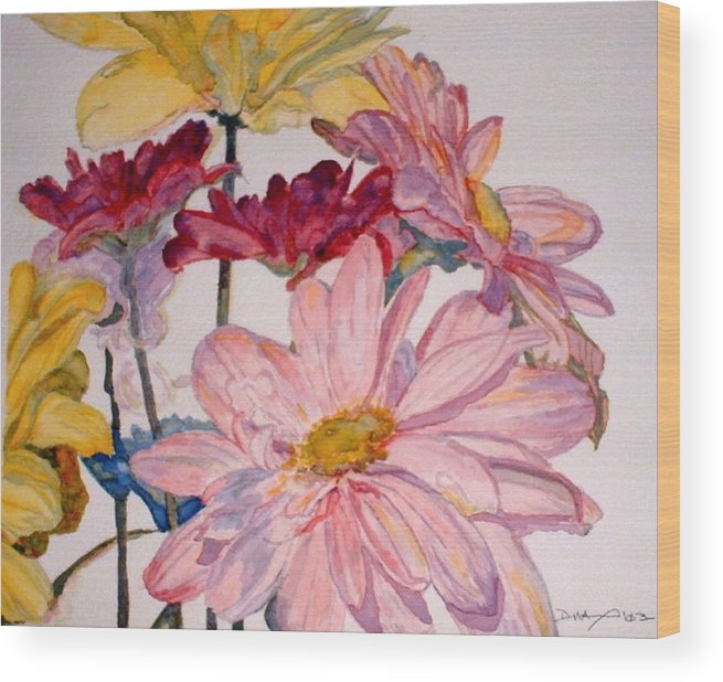 Floral Wood Print featuring the painting He Loves Me - Watercolor by Donna Hanna