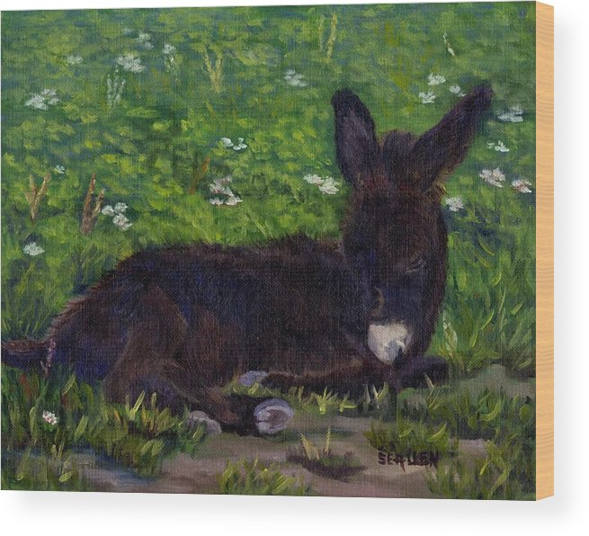 Donkey Wood Print featuring the painting Hercules by Sharon E Allen