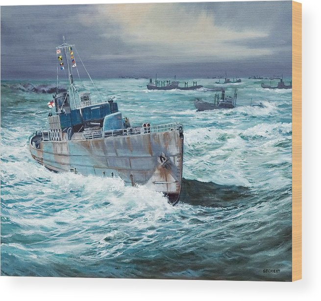 Hms Compass Rose Wood Print featuring the painting HMS Compass Rose Escorting North Atlantic Convoy by Glenn Secrest